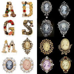 Wedding Cameo Pearl Crystal Brooch Pins Flower Women Bridal Costume Jewelry Gift