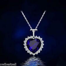 Titanic Heart Ocean Blue 925 Sterling Silver Necklace Pendant Women Jewelry Gift