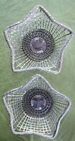 """2 Star Shaped Silver Tone Wire Baskets made in India 12"""" at Wide and 4"""" Tall"""