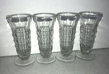 Old Fashioned Soda Fountain Ice Cream Sundae Ribbed Glasses Set Of 4