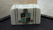 MINIATURE  CHINA SUITCASE BY W&R CARLTON WARE CRESTED MANSFIELD