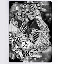 Dead Wedding Tattoo Kissing Skulls Hug Sensual Roses 60 Pieces MDF Jigsaw Puzzle