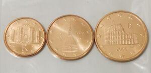 Italie 2006 Lot de 3 pièces 1.2.5 cts euro neuves, issues de rouleaux.