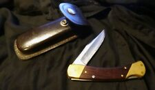 Vintage SCHRADE USA LB7 Lockback Folding Hunter Knife w/SCHRADE Leather Sheath