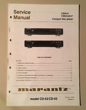 Original Marantz CD63/CD53 Compact Disc Player Service Manual
