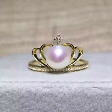 Customized AAA 6.5-7mm round Akoya white pink pearl crown ring 18k yellow gold