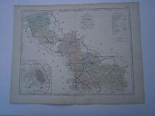 Carte 19° 1852  couleur atlas Malte brun Département du Nord Plan de Lille