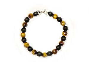 DAVID YURMAN Men's Matte Black Onyx/Tiger's Eye Spiritual Bead Bracelet $495 NEW