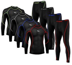 Mens Boys Body Armour Compression Baselayers Thermal Shirt Top Leggings Skin Set