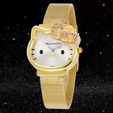 Hello Kitty Gold Silver Watch Cartoon Watches Girl's Children Wristwatch Casual