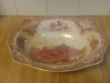 Johnson Bros Old Britain Castles Pink Oval Serving Vegetable Bowl 9.5""