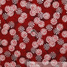 BonEful Fabric Cotton Quit Red SILVER Metallic Pepper*mint Xmas Candy Cane SCRAP