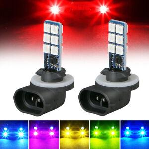 2X 881 5050 12SMD RGB LED Car Headlight Fog Light Lamp Bulbs 16 Colors + Remote