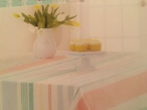 """Celebrate Life Together Woven Pastel Stripe 60"""" X 102"""" Oblong Fabric Tablecloth"""
