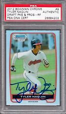 2012 Bowman Chrome Refractor #BDPP9 Tyler Naquin RC PSA/DNA Signed Auto Indians