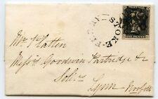 1840 cover to Lynn, Norfolk, with1d grey-black  pl. 1b, distinct Stoke Ferry MX