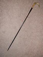Antique Walking Stick W/ Bovine Horn Crook Handle & Gold Plate Collar