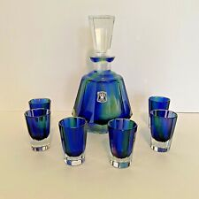 Golden Crown E & R Western Germany Blue Decanter & Glasses - Hand Cut Crystal