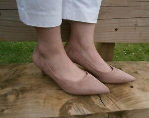 Womens Ladies Beige Low Heel Court Shoes, UK 2 3 4 5 6
