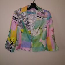 Alberto Makali Womens Size 6 Floral Print Multi Color Abstract Hook Blazer