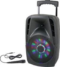 Mobile Akku Sound Anlage PARTY-8LED Bluetooth USB MP3 Radio Mikro Karaoke Accu
