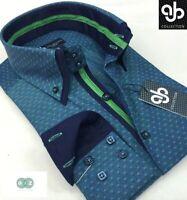 New Mens Formal Smart Emerald Green Italian Design Slim Fit Double Collar Shirt