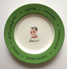 "Pottery Barn What's Your Sign Gemini Salad Plate 8"" China Traits Horoscope Green"