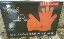 Heat Resistant Gloves 1 Pair - With Apron Best Silicone Oven Mitts - Cooking -
