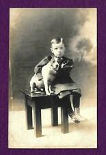 Rppc Young Boy With His Jack Russell Terrier Dog In A Studio Photo Postcard