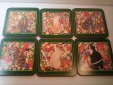 "Pimpernel Vtg ""Christmas Cats"" Coasters, Set Of 6 Cork Backed, England"