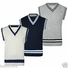 Mens Vintage Cricket Bowling Golf Knitted V Neck Sleeveless Pullover Jumper Top
