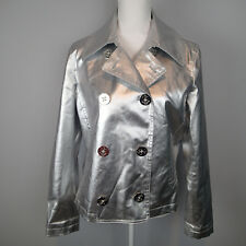 Ralph Lauren silver  metallic jacket nautical sz l leather look anchor blazer