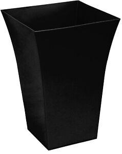 Large Tall Black Flared Square Shaped Planter Plant Pot Planters Gloss Black