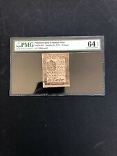 PA-184 OCTOBER 25, 1775 9 PENCE PENNSYLVANIA COLONIAL CURRENCY PMG64 EPQ  UNC