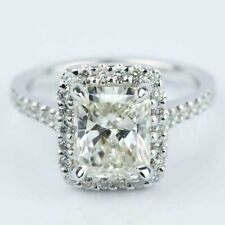 3.20 TCW Radiant Cut Moissanite Halo Engagement Ring In 14k White Gold Plated