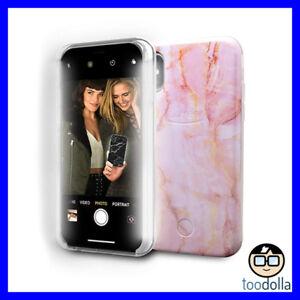LuMee Selfie Marble protective case, front lights, iPhone X / XS, Pink Quartz