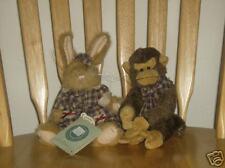 Boyds Bears Plush Hare Gretchen, Monkey Darwin Monkbury