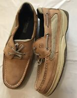 Sperry Top-Sider Lanyard boy's tan nubuck/leather moc toe Boat shoes size 6M