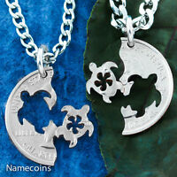 Sea turtle flower Necklace for friends and couples, Hand cut coin