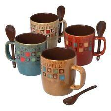 Mr. Coffee 8-Piece Cafe Americano Mug Set with Spoons, 13-Ounce, Assorted , New,