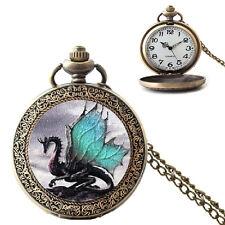 Vintage Dragon Patt 00004000 ern Case Quartz Pocket Watch Necklace Chain