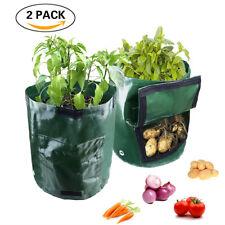 4x Reuseable Potato Green Fabric Grow Pots Garden Onion Breathable Planter Bags