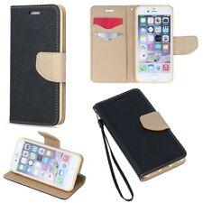^ Huawei P Smart Book Case Etui Cover Hülle Handy Tasche Fancy Schwarz Gold