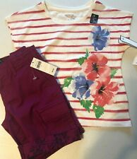 GapKids Girl's Size 5 Cargo Shorts Flower T-Shirt Set Outfit S/S Berry