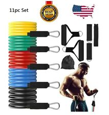Resistance Bands 11pcs Set Yoga Pilates Abs Exercise Fitness Workout Tube Kit US