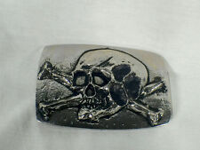 Tomb Raider, Skull & Crossbones Belt Buckle, Solid Metal, Silver