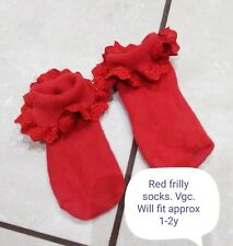 Girls Red Frilly Socks Party/Christmas