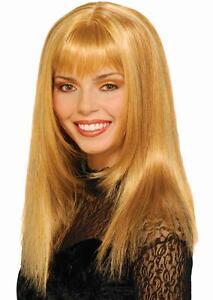 Honey Wig Blonde Celebrity Bangs Fancy Dress Halloween Adult Costume Accessory