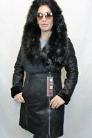 Black 100% Real Shearling Sheepskin Leather Toscana Hood Jacket Coat XS-6XL NWT