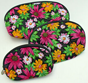 Pink Floral Quilted Nesting Cosmetic Makeup Bags - Small, Medium, Large.  new